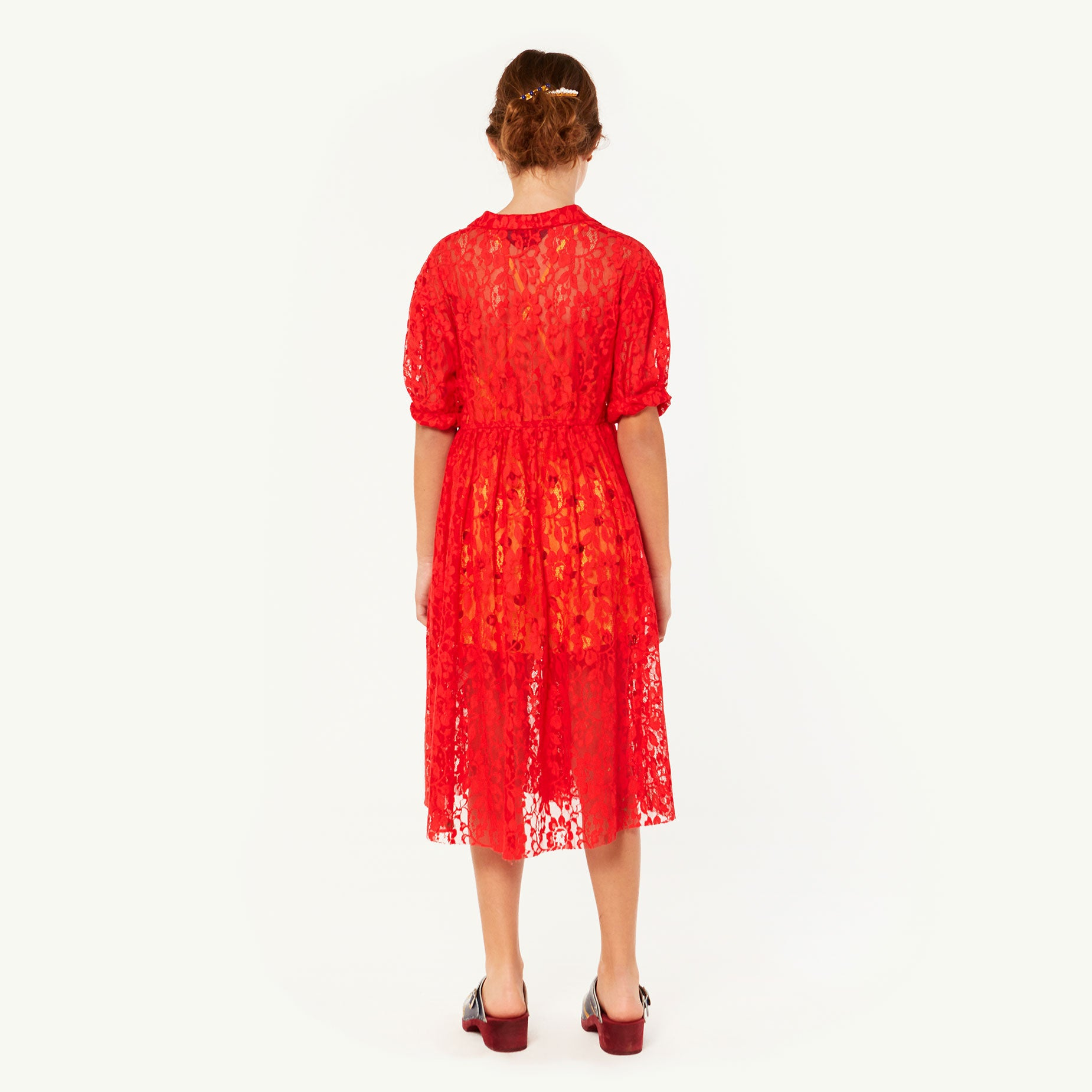 The Animals Observatory Dolphin Kid's Dress Red Lace | BIEN BIEN | www.bienbienshop.com