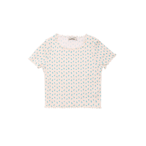 The New Society Mar Kid's Tee White Blue Tulipe Flower | BIEN BIEN