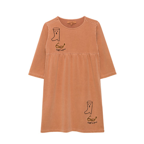 Weekend House Kids Peggy Kid's Dress Brick Embroidered Organic Cotton | BIEN BIEN bienbienshop.com