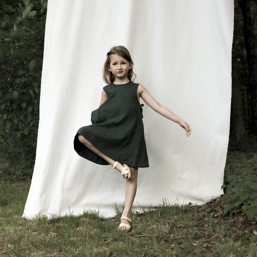Soor Ploom Willow Girl's Dress in Fern Linen | BIEN BIEN