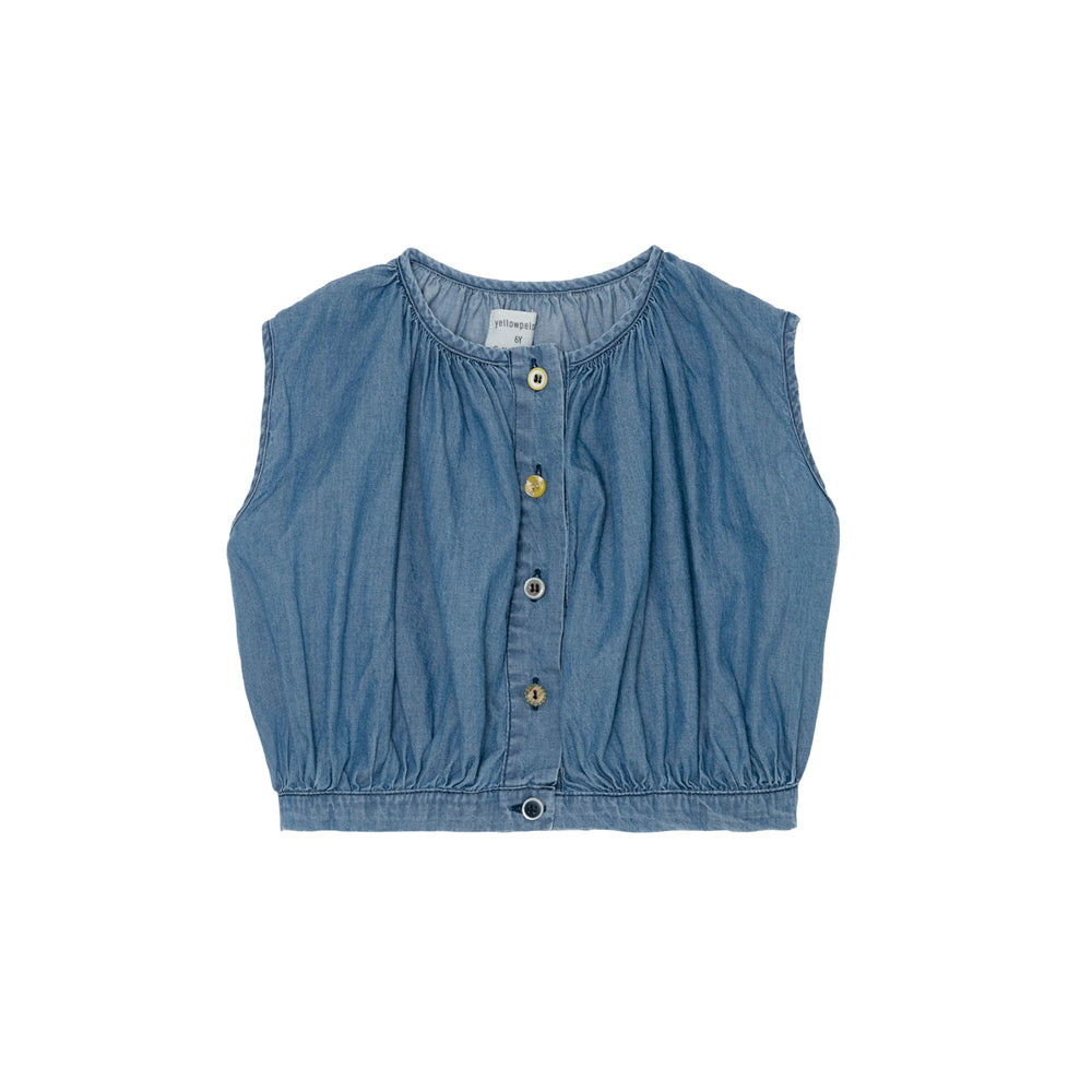 Yellow Pelota Mixed Buttons Baby & Girl's Blouse Denim | BIEN BIEN www.bienbienshop.com