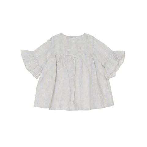 Yellow Pelota Baby/Kid's Stripes Blouse Blue/Natural Linen | BIEN BIEN www.bienbienshop.com