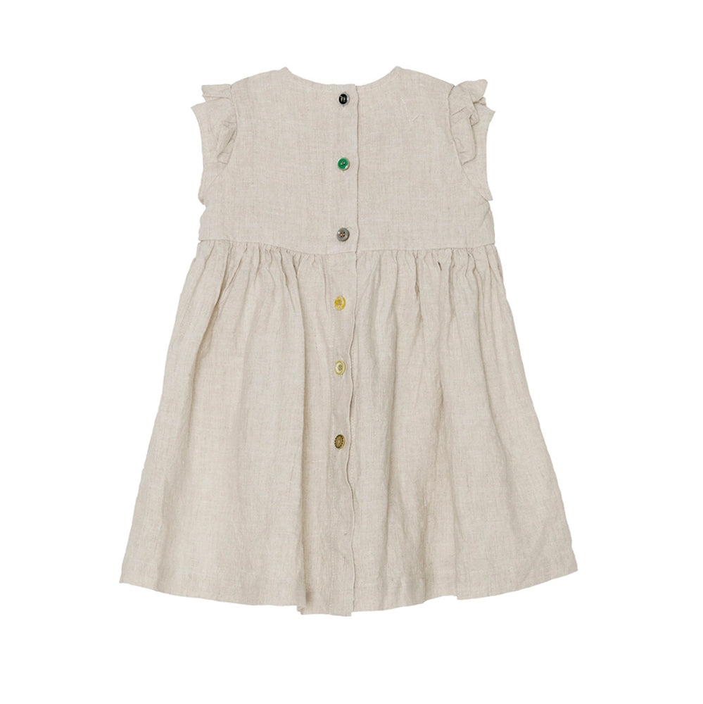 Yellow Pelota Ruffle Sleeve Baby & Girl's Dress Linen | BIEN BIEN www.bienbienshop.com