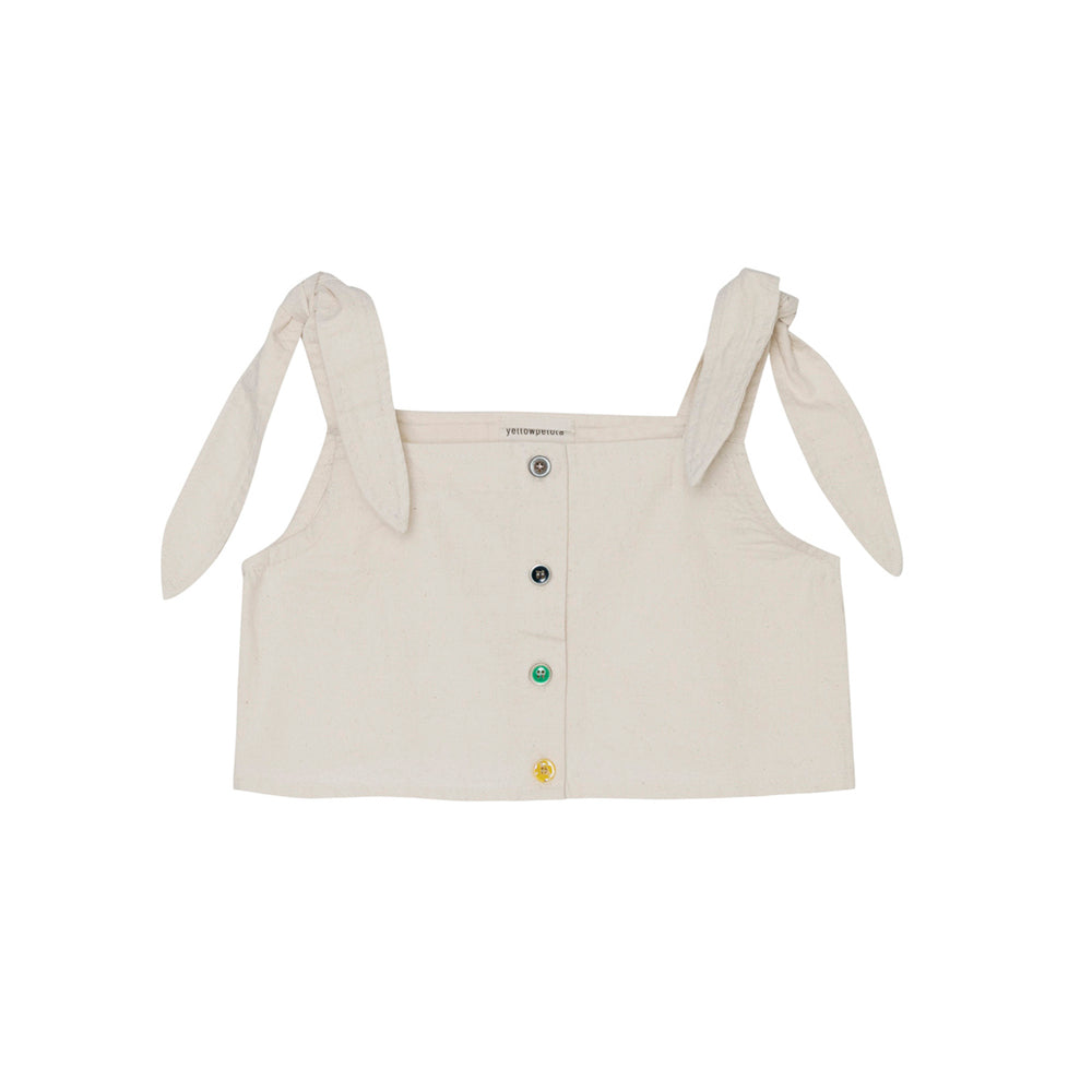 Yellow Pelota Leaf Girl's Blouse Ivory Organic Cotton | BIEN BIEN www.bienbienshop.com