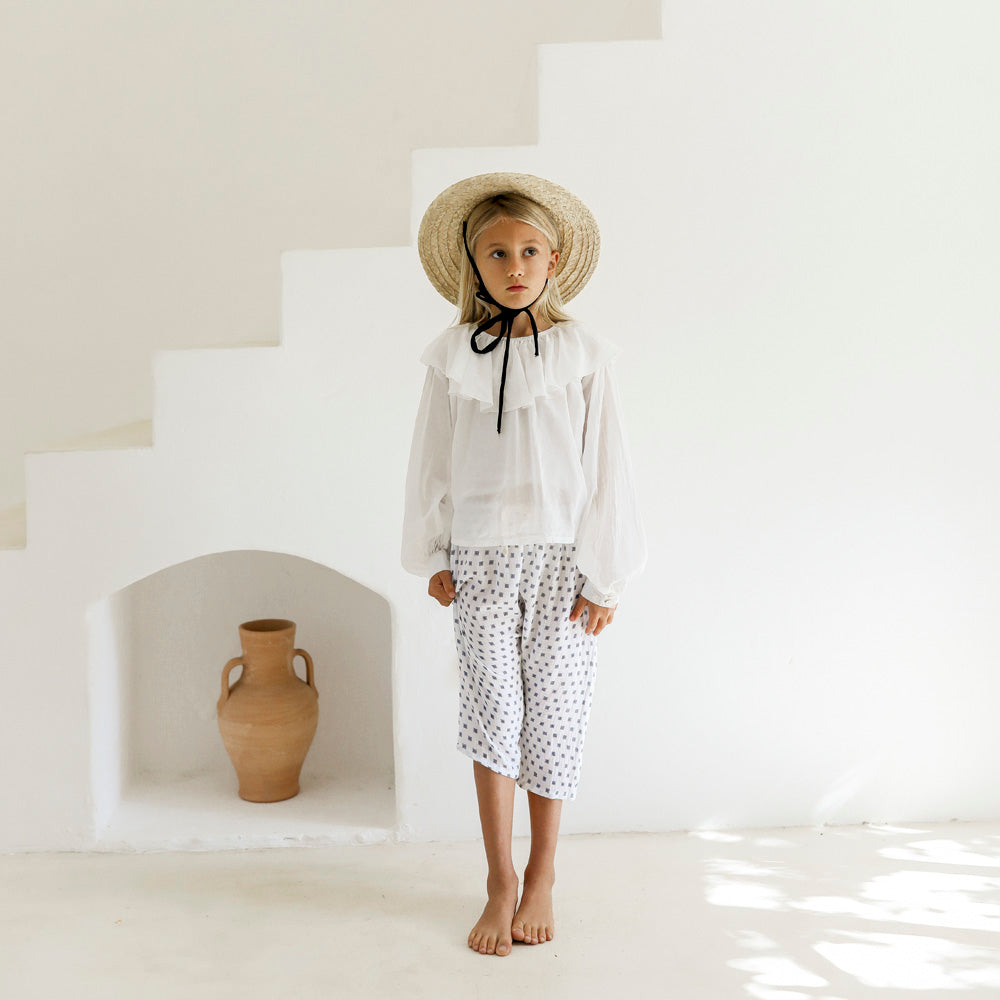 Yoli & Otis Emma Kid's Frill Collar Blouse White Organic Cotton | BIEN BIEN bienbienshop.com