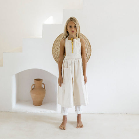 Yoli & Otis Valeriane Kid's Pinafore Dress Undyed Natural Denim | BIEN BIEN bienbienshop.com