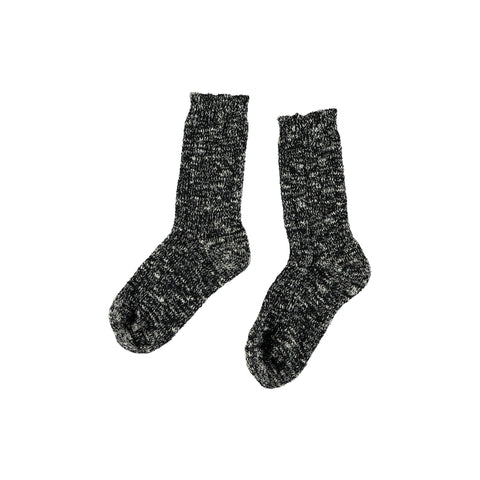 Búho Tweed Kids Socks in Black Tweed | BIEN BIEN