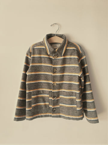 Boy+Girl Kid's Shirt Jacket Yellow Charcoal Stripe