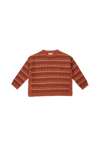 Caramel Chinchilla Kid's Merino Jumper in Rust Fairisle | BIEN BIEN