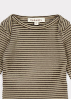 Caramel Jackal Baby Striped Cotton T-Shirt in Pewter | BIEN BIEN