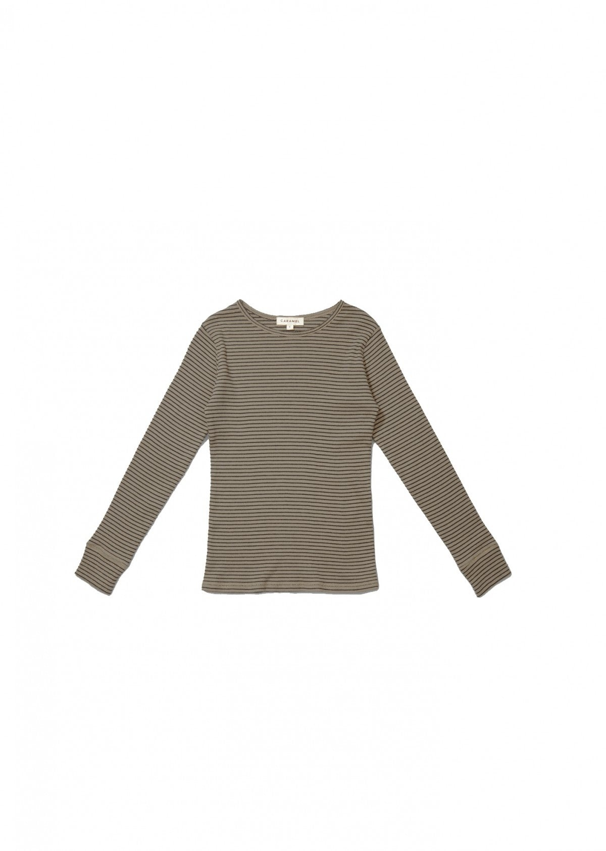 Caramel Jackal Kid's Striped Cotton T-Shirt in Pewter | BIEN BIEN