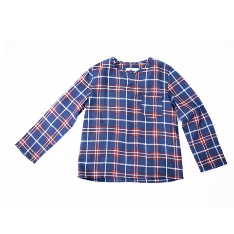 boy+girl Long Sleeve Kid's Kurta in Wine/Navy Plaid | BIEN BIEN