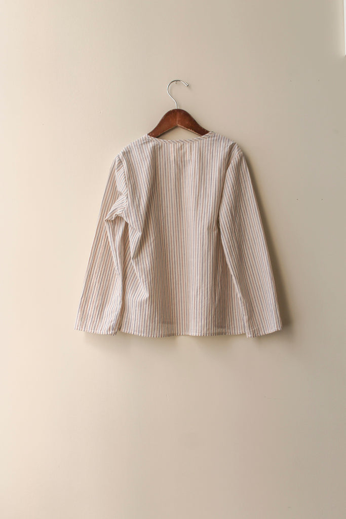 boy+girl Long Sleeve Kid's Kurta Top in Pinstripe | BIEN BIEN