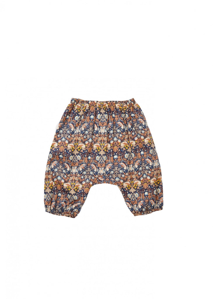 Caramel Monkey Baby Trousers Liberty Strawberry Thief | BIEN BIEN