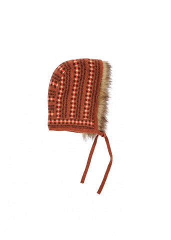Caramel Moose Kid's Merino Hat with Faux Fur Trim in Rust Fairisle | BIEN BIEN