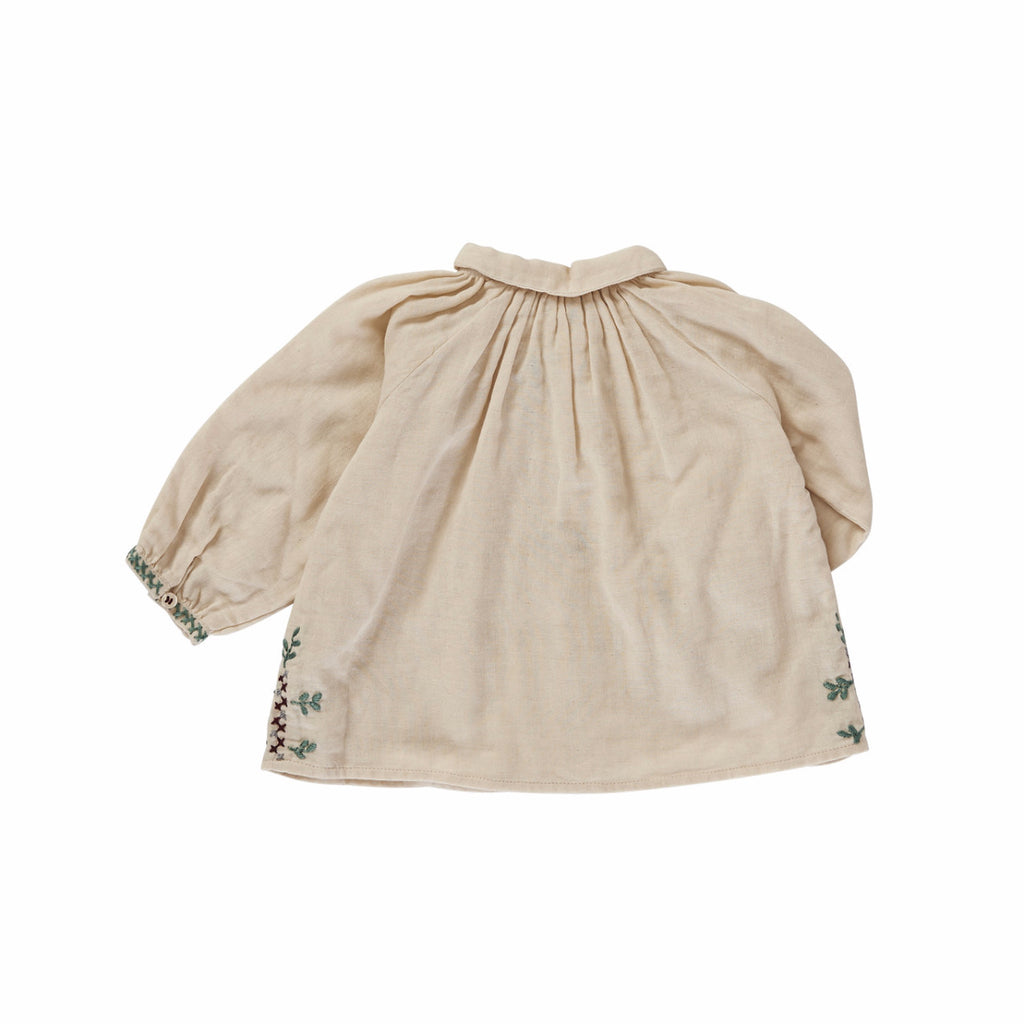 Caramel London Moss Baby Girl Blouse in Cream with Embroidery | BIEN BIEN