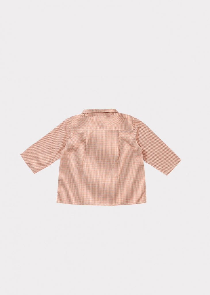 Caramel Owl Baby Collared Shirt in Red Microcheck | BIEN BIEN