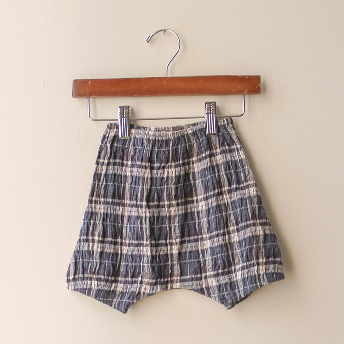 boy+girl Baby Girl Poppy Bloomer in Blue Plaid | BIEN BIEN