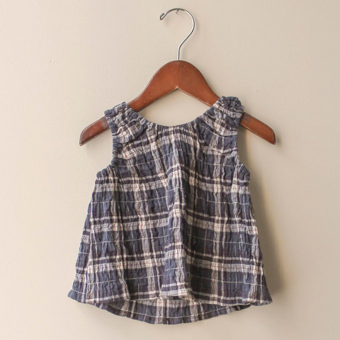 boy+girl Poppy Baby Girl Top in Blue Plaid | BIEN BIEN