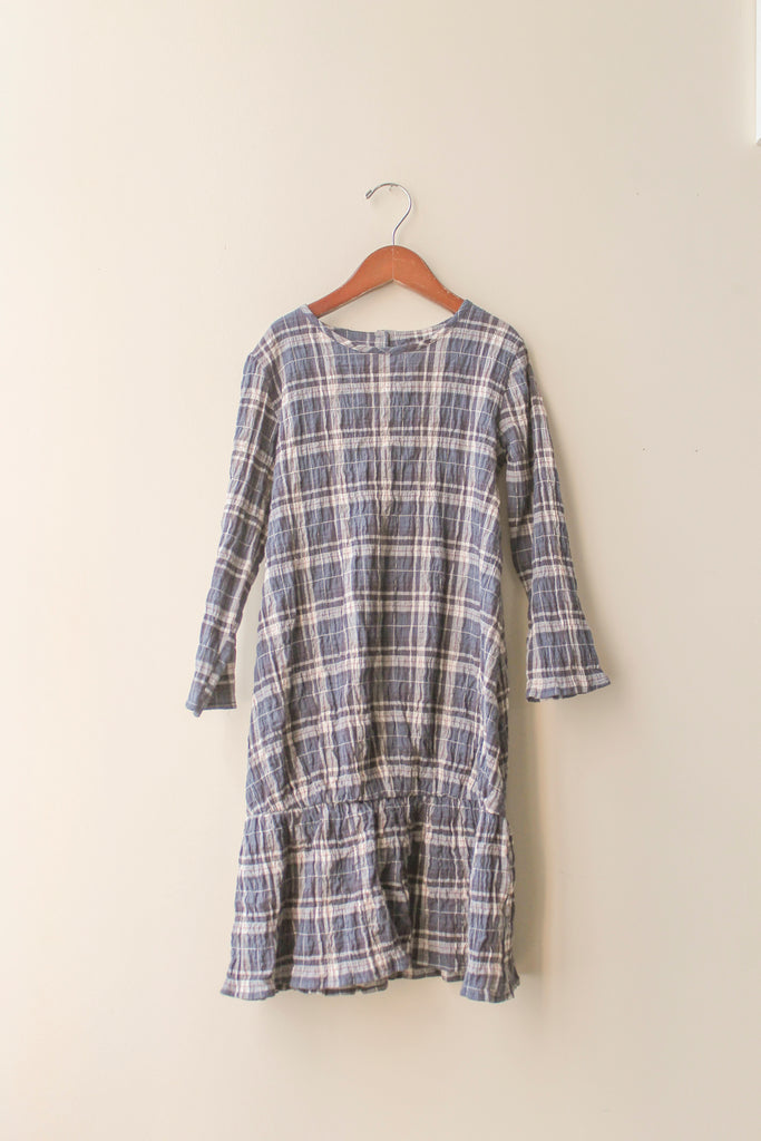 boy+girl Sophie Girl's Dress in Navy/Ecru Plaid | BIEN BIEN