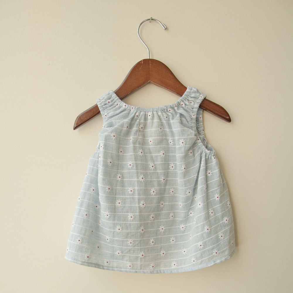 boy+girl Poppy Baby Girl Top in Blue Daisy | BIEN BIEN
