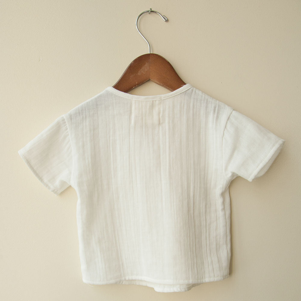 boy+girl Unisex Baby Kurta Top in White | BIEN BIEN