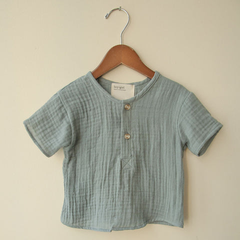 boy+girl Unisex Baby Kurta Top in Grey Blue | BIEN BIEN