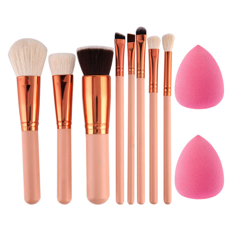 8 Piece Pink Makeup Brush Set