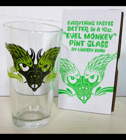 2-EVEL MONKEY PINT GLASS SET