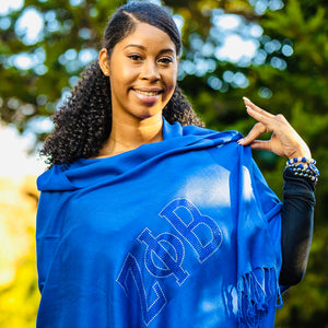 Zeta Phi Beta Royal Blue Rhinestone Pashmina