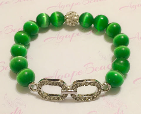 Clear Crystal Links Chain Charm Bracelet - Kelly Green Cat's Eye