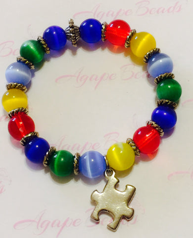 Autism Awareness Silver Puzzle Charm Bracelet - Cat's Eye
