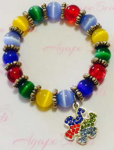 Autism Awareness Crystal Puzzle Charm Bracelet - Cat's Eye