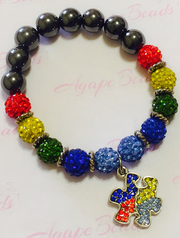 Autism Awareness Crystal Puzzle Charm Bracelet - Crystal Balls