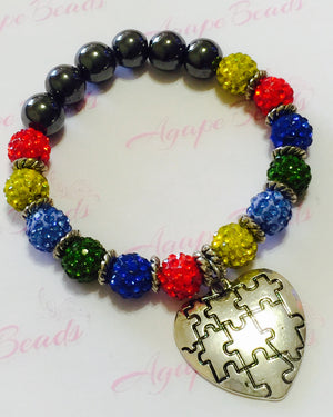 Autism Awareness Silver Heart Puzzle Charm Bracelet - Crystal Balls