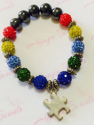 Autism Awareness Silver Puzzle Charm Bracelet - Crystal Balls
