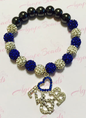 Zeta Phi Beta Crystal Heart ΖΦB Charm Bracelet