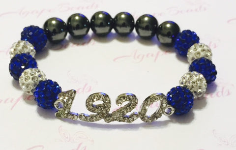 Zeta Phi Beta Clear Crystal 1920 Bracelet