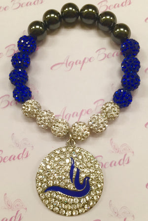 Zeta Phi Beta Round Crystal Blue Enamel Dove Bracelet - Blue and White