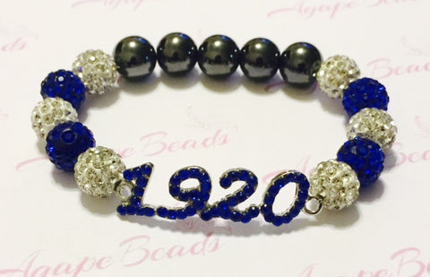 Zeta Phi Beta Blue Crystal 1920 Bracelet