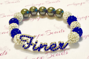 Zeta Phi Beta Blue Crystal Finer Bracelet