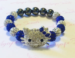 Zeta Phi Beta Clear Crystal Kitty Bracelet