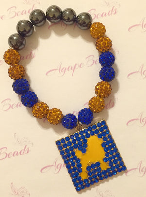 Sigma Gamma Rho Square Blue Crystal Poodle Charm - Crystal Balls