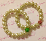 Alpha Kappa Alpha Pearl Bracelet Set with Pink and Green Crystal Balls