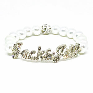 Jack and Jill Crystal Script Bracelet - White Pearls