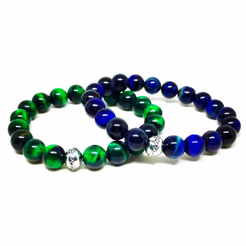 Men's Green and Blue Tiger's Eye Bracelet Set