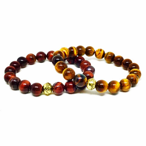 Men's Red and Brown Tiger's Eye Bracelet Set