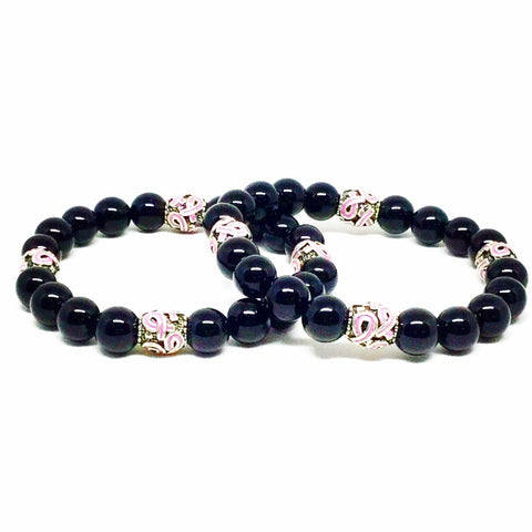 Unisex Black Onyx Breast Cancer Awareness Bracelet Set