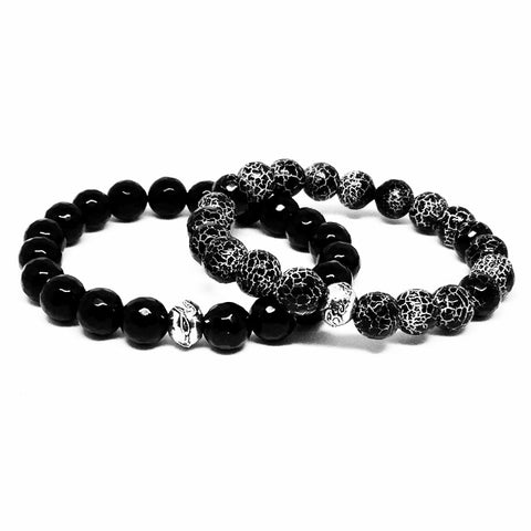 Men's Black Onyx and Black Crackle Agate Bracelet Set