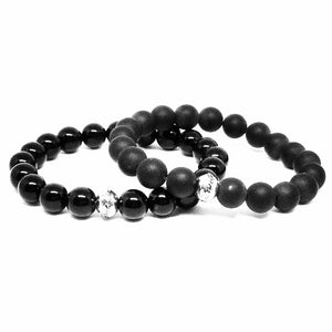 Black Onyx and Black Matte Agate Bracelet Set
